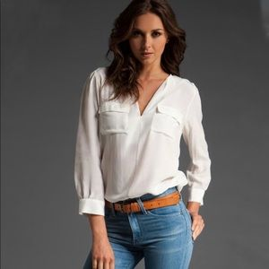 Joie Marlo Silk Shirt in Ivory